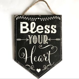 """""""Bless Your Heart"""" Hanging Rustic Wood Wall Decor"""